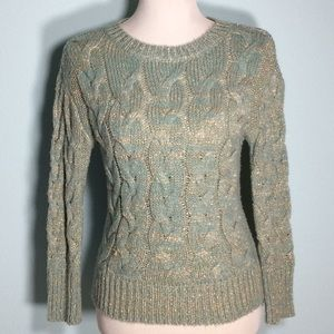 Aqua/Metallic Gold Long Sleeve Cable Knit Sweater